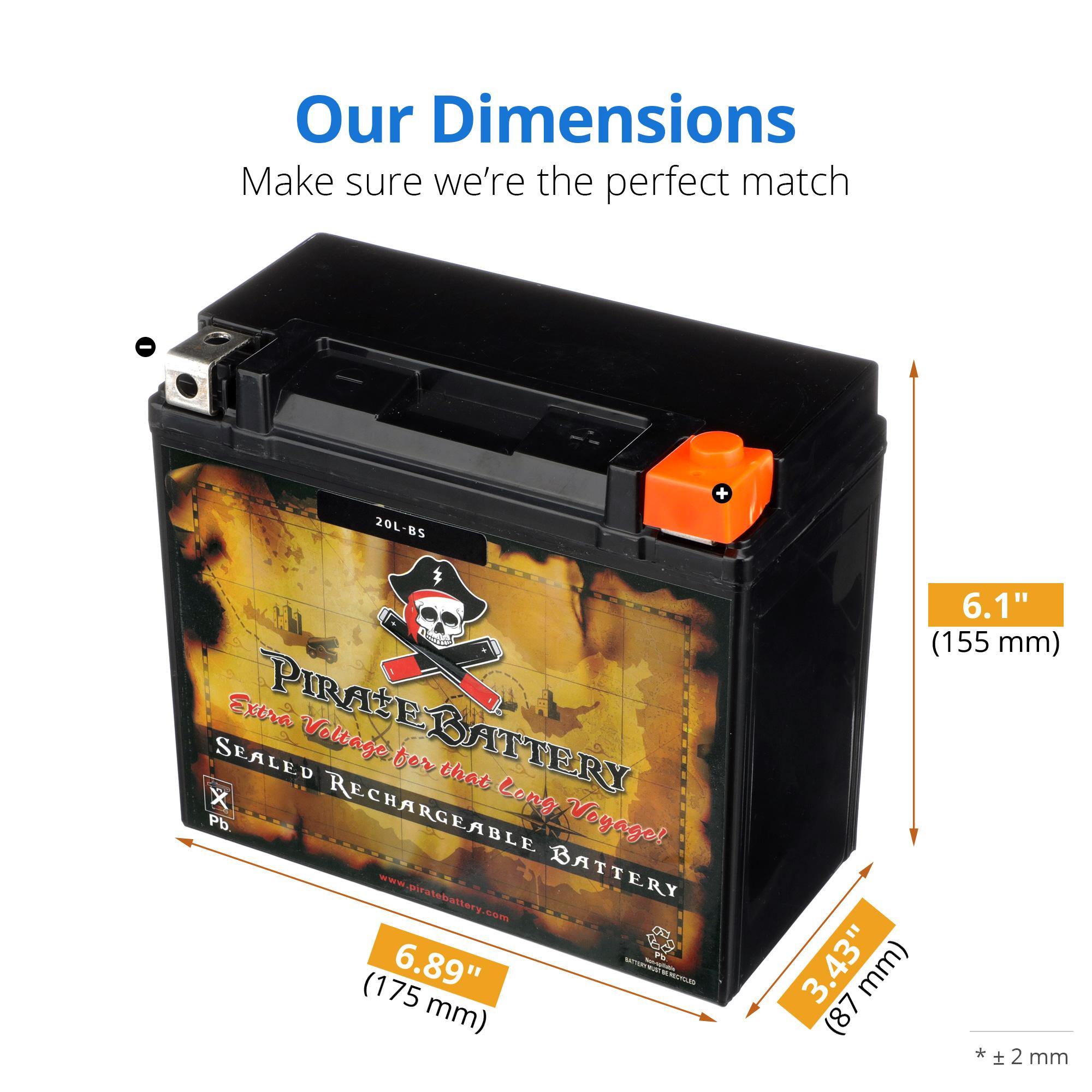 thumbnail 2 - YTX20L-BS Jet Ski PWC AGM Battery for Honda, Sea-Doo, Kawasaki, Polaris, Yamaha