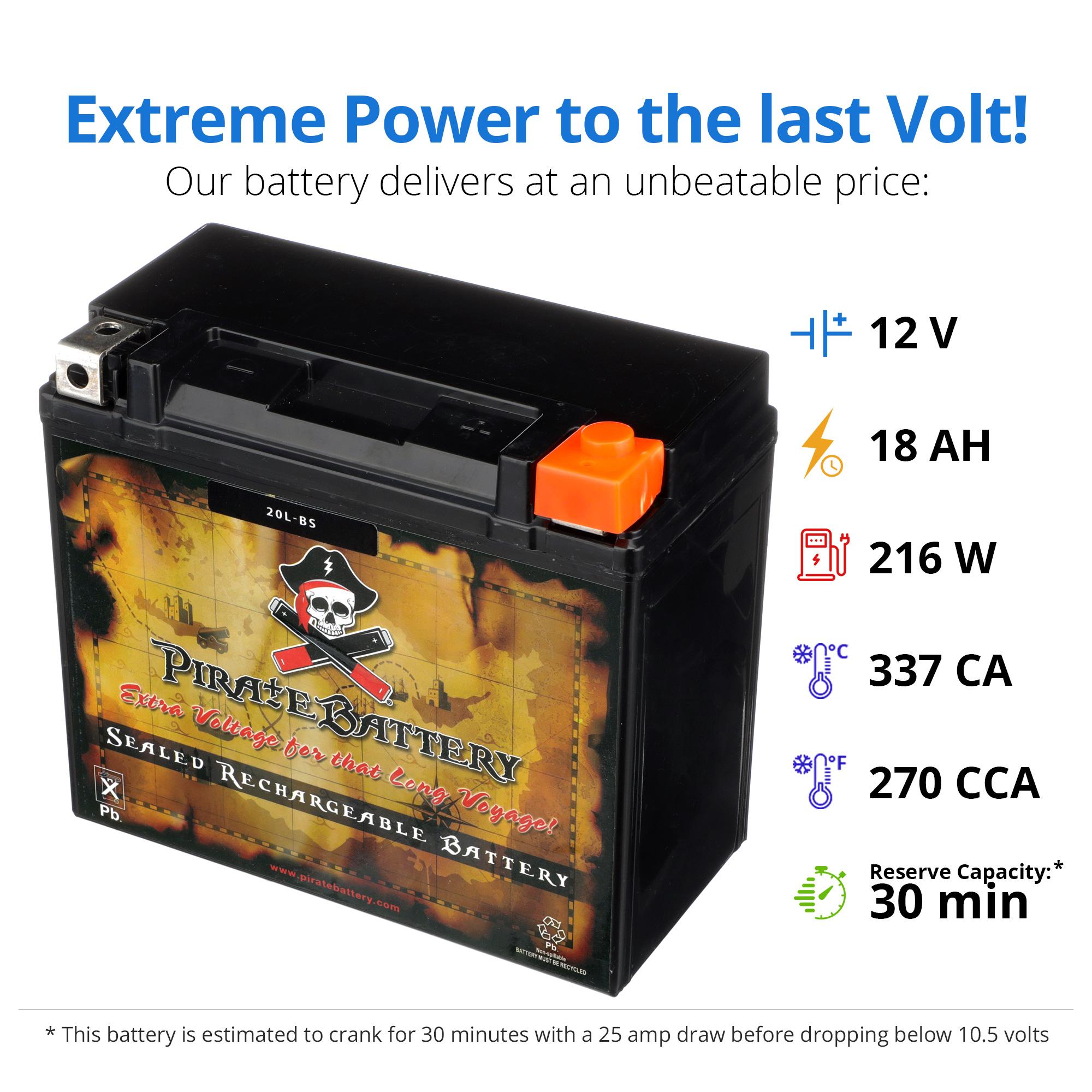 thumbnail 3 - YTX20L-BS Jet Ski PWC AGM Battery for Honda, Sea-Doo, Kawasaki, Polaris, Yamaha